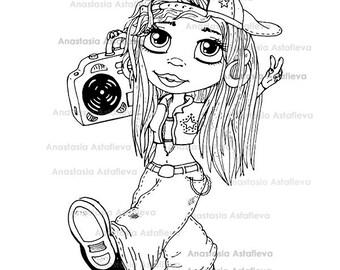 INSTANT DOWNLOAD Digital Digi Stamps Big Eye Big Head Dolls Beautiful girl By Anastasia Astafieva