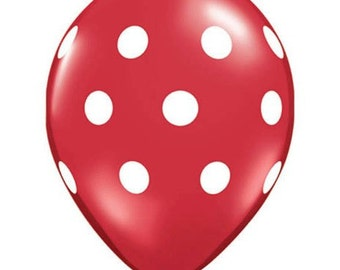 "Quantity 12 Red & White Polka Dot Latex 11"" Balloon Party Decorating Supplies"