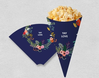 Printable snack cone treat cone | popcorn cone digital file | navy painted flower modern bridal shower wedding party cone | INSTANT DOWNLOAD
