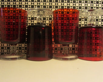 """LUMINARC/ARCOROC  """"Cavalier"""" Set of four French vintage iconic Ruby Wine Glasses - 1970s"""