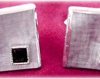Swank Square Silver Cuff Links with Black Stone