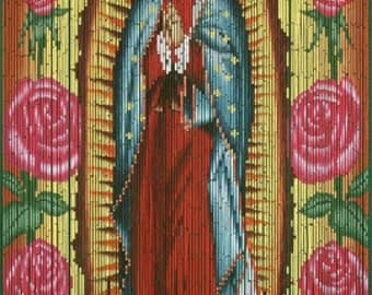 Hand Painted Beaded Bamboo Curtain - Virgin of Guadalupe