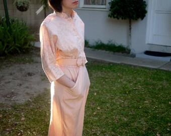 Vintage 1980s Peach Belted Dress