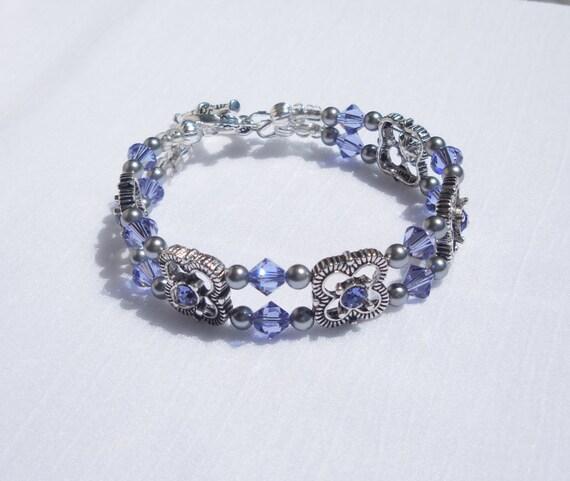Pearl Tanzanite: Swarovski Tanzanite Crystal And Grey Pearl 2-strand Bracelet