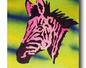 "Canvas 8"" x 10"" Funky Fun Zebra Pop Art Custom Painting African Animal Art Wild Zoo Artwork"
