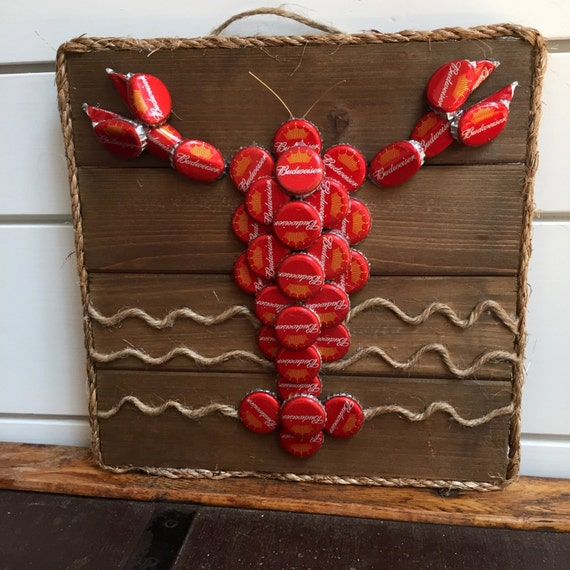 Items similar to beer bottle cap lobster lobster wall art for What to make with beer bottle caps