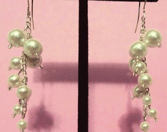 White Pearl Dangling Earrings
