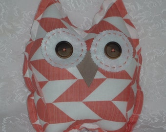 Sale was 20.00 Cora Owl Decorative Pillow/Cuddly/Toy in Trendy Coral and White