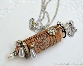 Cork Necklace - Assemblage Necklace - Boho Necklace - Boho Jewelry - Cork Jewelry - Wine Cork Necklace - Bauble Necklace - Cork Pendant