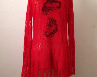 Gorgeous Dragon embroidery fringe cardigan.