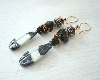 Two for Joy...Artisan,ceramic,magpie feather,earrings,copper,tourmaline,czech,glass,wire wrapped