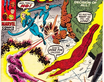 Fantastic Four 105 comic book, Marvel Comics, Vintage Bronze Age art, The Human Torch, Thing, Invisible Girl, Romita, 1970 in VF- (7.5)
