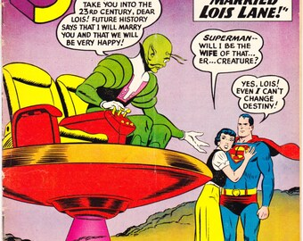 Superman 136 comic book, Marriage, Alien Wife, UFO Cover, Lois Lane. DC Comics from 1960 in VGFN (5.0)