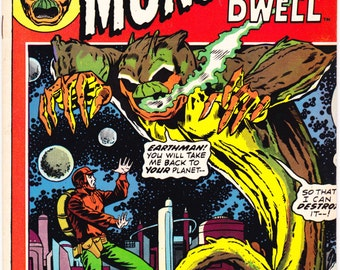 Horror comic, Where Monsters Dwell 18, Scary book, Creepy Halloween, Jack Kirby art. 1972 Marvel Comics in VF+ (8.5)