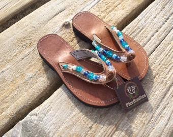 SALE: Childrens Genune Leather Beaded Sandals - A Fair Trade item from Honduras