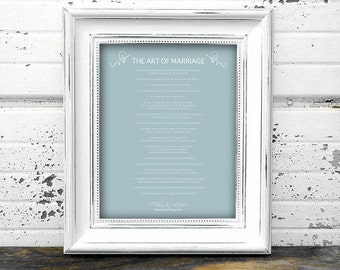 Personalised 'The Art of Marriage' Wedding Digital Download | Unique Anniversary Gift