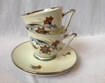 Copenhagen Porcelain Cup And Saucer Set Of 2 Kobenhavn Porcellains Maleri Scandinavian Tea Set Danish Tea Cup