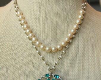 Vintage necklace,Vintage faux pearl and Aqua rinestone brooch remix necklace
