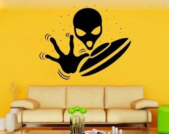 Alien Wall Vinyl Decal UFO Wall Vinyl Sticker Fantasy Decals Home Decor (2aen)