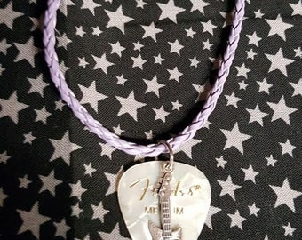 Guitar pick necklace, White Fender w/ pewter guitar