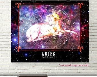 Aries Zodiac Poster Art, Zodiac Digital Download, Aries Horoscope Printable Wall Art, Aries Astrology Digital Art, Zodiac Decor