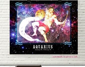 Aquarius Zodiac Poster Art, Zodiac Digital Download, Aquarius Horoscope Printable Wall Art, Aquarius Astrology Digital Art, Zodiac Decor