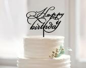 Happy birthday cake topper,custom script cake topper with happy birthday,modern acrylic cake topper for mom gift,custom words cake topper