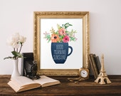 Printable Good Morning Sunshine Coffee Cup Flowers Blue Chalkboard Decor Home Kitchen Sign Pink Kitchen Decoration Coffee Poster Cafe Golden