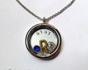 GIGI - Floating Charm Locket - Memory Locket - Custom Hand Stamped Gift for Mom or Grandma