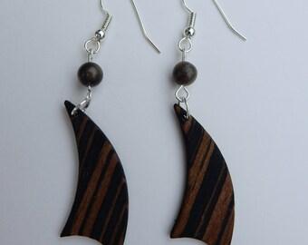 Macassar Ebony Wood Sail Earring.