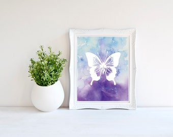 Butterfly Art, Watercolor Butterfly Print, Purple Watercolor, Wall Art, Printable Decor, Butterfly Printable, 8x10 Butterfly Print