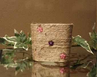Jute Wrapped Vase/Candle Holder With Flower Embellishments