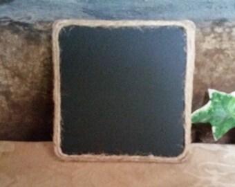 Set of Four Chalkboard Coasters Wrapped in Jute, Chalkboard Painted Coasters, Jute Wrapped Coasters, Chalkboard Coasters