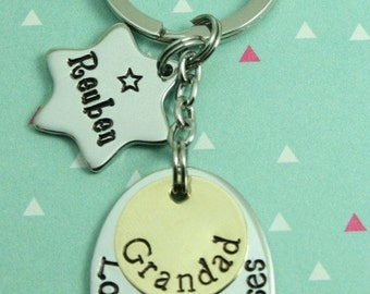 Personalised Dad/Daddy/Grandad/Gramps/Pops/Uncle Key Ring + 1 x Star Tags | Gift-Hand Stamped | Bespoke | UK