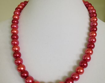 Glass Pearl Beads in Salmon Hot Pink Raspberry Necklace