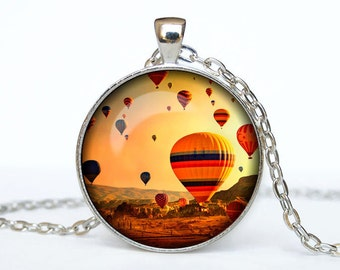 Hot air balloons pendant hot air balloons necklace hot air balloons jewelry