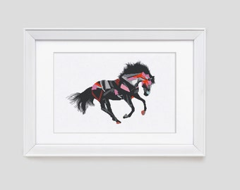 Horse cross stitch pattern, horse counted cross stitch pattern, modern horse cross stitch pattern, horse cross stitch pdf pattern
