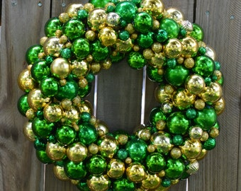 "Handmade Wreath from Shatterproof Ornaments -MOVING SALE!! Green - Gold - 15"" - Baylor - Green Bay - CHRISTMAS - Door wall wreath - sports"