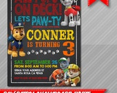 Paw Patrol Invitation - Chalkboard style - Paw Patrol Party - Paw Patrol Invite - Paw Patrol Birthday - Chase Rubble Marshall Ryder  Rocky