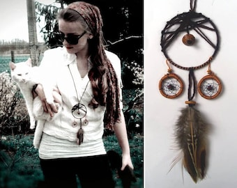 Dreamcatcher necklace, unique handmade, gift for her, gift wrapped, dreamcatcher jewelry, boho necklace, silver, cute hippie (dream catcher)