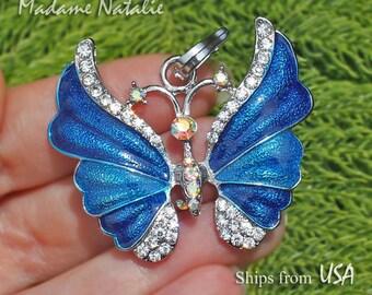 Blue Butterfly Pendant, Blue Enamel and Rhinestone Butterfly Pendant, Blue and Silver Butterfly, Blue Sapphire Butterfly Pendant