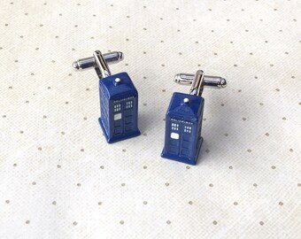 Dr. Who Tardis Police Box Doctor Cufflinks Cuff Links in Silver