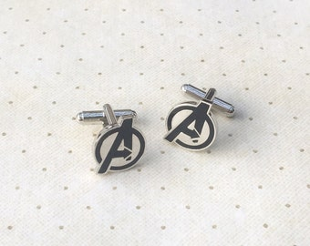 Avengers Cufflinks Agents of S.H.I.E.L.D. Cuff Links in Silver