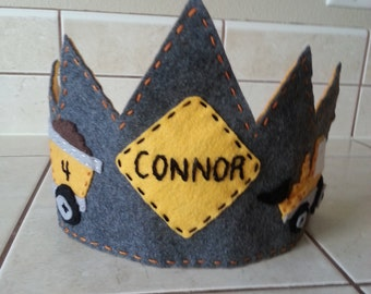Construction Zone Birthday Crown