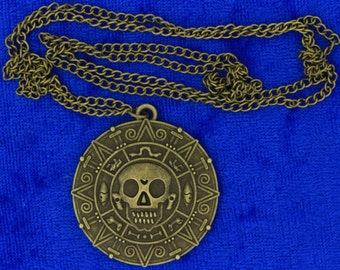 Pirates of the Caribbean Necklace Bronze Color Doubloon Coin