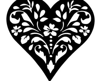 "6/6"" Vintage heart design stencil template 2 size"