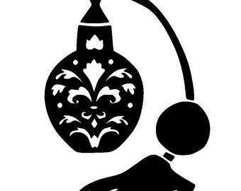 """6/6"""" Vintage design perfume bottle stencil and template 1."""