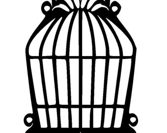 "5.8/8.3"" Vintage design bird cages 4 designs stencil and template. A5."