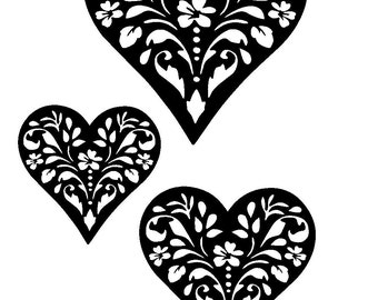 """5.8/8.3"""" Vintage design heart stencil and templates 2 (3 hearts). A5."""