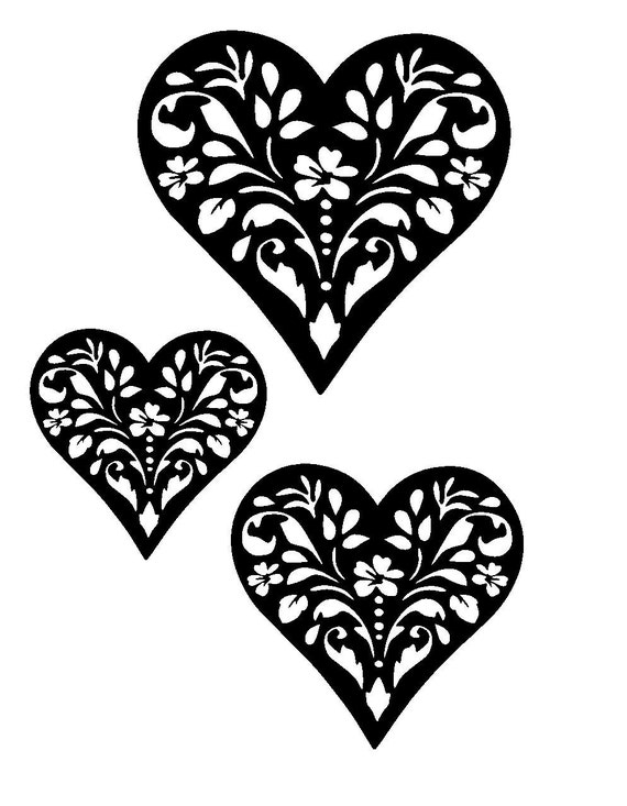 8 3 11 7 Vintage Design Heart Stencil And Templates By